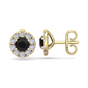 1 1/2 Carat Black Diamond Halo Stud Earrings In 14 Karat Yellow Gold