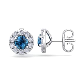 1 1/2 Carat Blue Diamond Halo Stud Earrings In 14 Karat White Gold