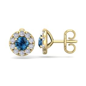 1 1/2 Carat Blue Diamond Halo Stud Earrings In 14 Karat Yellow Gold