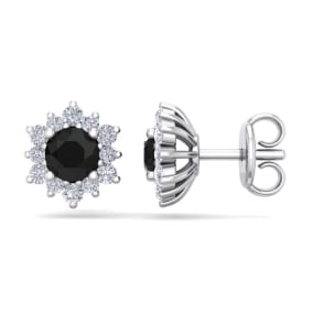 1 Carat Round Shape Flower Black Diamond Halo Stud Earrings In 14 Karat White Gold