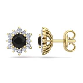 1 Carat Round Shape Flower Black Diamond Halo Stud Earrings In 14 Karat Yellow Gold