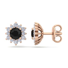 1 Carat Round Shape Flower Black Diamond Halo Stud Earrings In 14 Karat Rose Gold
