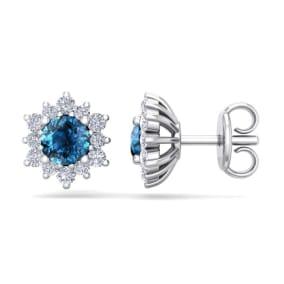 1 Carat Round Shape Flower Blue Diamond Halo Stud Earrings In 14 Karat White Gold