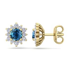 1 Carat Round Shape Flower Blue Diamond Halo Stud Earrings In 14 Karat Yellow Gold