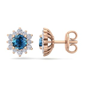 1 Carat Round Shape Flower Blue Diamond Halo Stud Earrings In 14 Karat Rose Gold