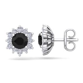 1 1/2 Carat Round Shape Flower Black Diamond Halo Stud Earrings In 14 Karat White Gold