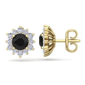 1 1/2 Carat Round Shape Flower Black Diamond Halo Stud Earrings In 14 Karat Yellow Gold