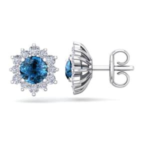 1 1/2 Carat Round Shape Flower Blue Diamond Halo Stud Earrings In 14 Karat White Gold