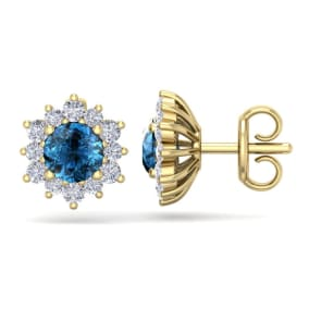 1 1/2 Carat Round Shape Flower Blue Diamond Halo Stud Earrings In 14 Karat Yellow Gold
