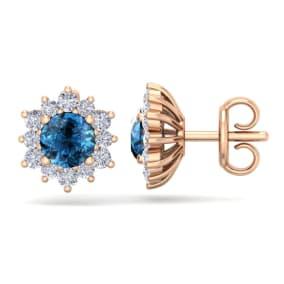 1 1/2 Carat Round Shape Flower Blue Diamond Halo Stud Earrings In 14 Karat Rose Gold