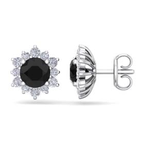 2 Carat Round Shape Flower Black Diamond Halo Stud Earrings In 14 Karat White Gold