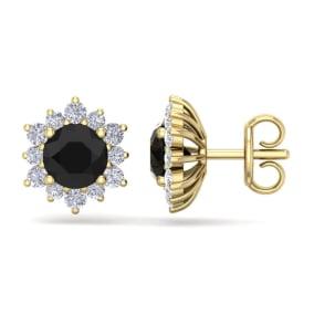 2 Carat Round Shape Flower Black Diamond Halo Stud Earrings In 14 Karat Yellow Gold