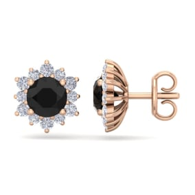 2 Carat Round Shape Flower Black Diamond Halo Stud Earrings In 14 Karat Rose Gold
