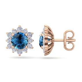 2 Carat Round Shape Flower Blue Diamond Halo Stud Earrings In 14 Karat Rose Gold