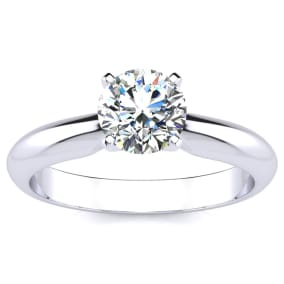 1 Carat Moissanite Solitaire Engagement Ring In Solid Platinum. First Time Ever Offered!!!