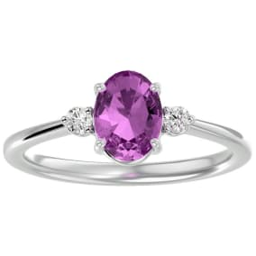 1 1/2 Carat Oval Shape Pink Topaz and Two Diamond Ring In 14 Karat White Gold