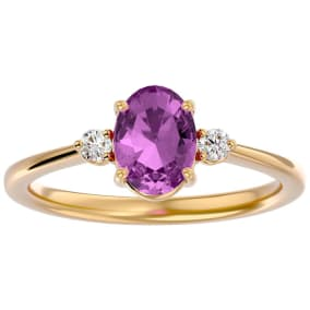 1 1/2 Carat Oval Shape Pink Topaz and Two Diamond Ring In 14 Karat Yellow Gold