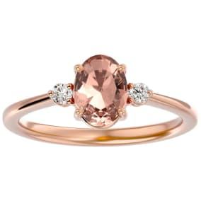 1 1/4 Carat Oval Shape Morganite and Two Diamond Ring In 14 Karat Rose Gold