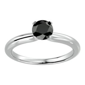 1 Carat Black Diamond Solitaire Engagement Ring In 14 Karat White Gold