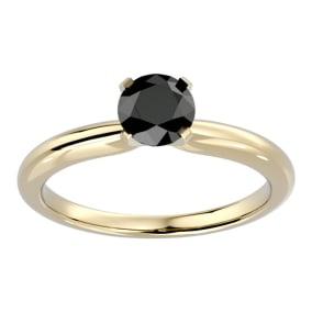 1 Carat Black Diamond Solitaire Engagement Ring In 14 Karat Yellow Gold