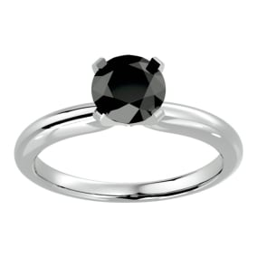 1 1/2 Carat Black Diamond Solitaire Engagement Ring In 14 Karat White Gold
