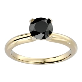 1 1/2 Carat Black Diamond Solitaire Engagement Ring In 14 Karat Yellow Gold