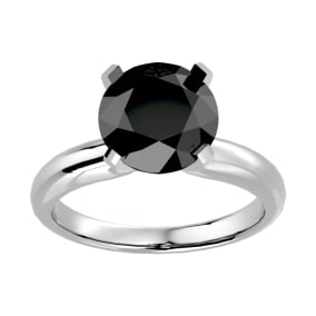 4 Carat Black Diamond Solitaire Engagement Ring In 14 Karat White Gold