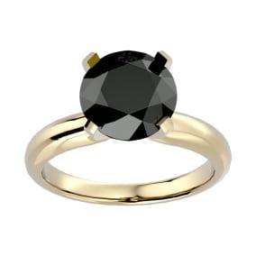 4 Carat Black Diamond Solitaire Engagement Ring In 14 Karat Yellow Gold