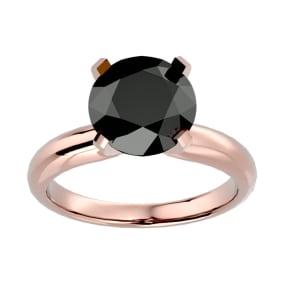 4 Carat Black Diamond Solitaire Engagement Ring In 14 Karat Rose Gold