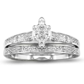 0.08 Carat Diamond Bridal Set In Sterling Silver