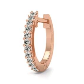 0.06 Carat Diamond Single Mens Hoop Earring In 14 Karat Rose Gold