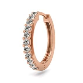 1/10 Carat Diamond Single Mens Hoop Earring In 14 Karat Rose Gold