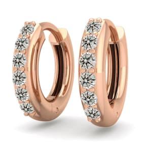 1/4 Carat Diamond Mens Hoop Earrings In 14 Karat Rose Gold