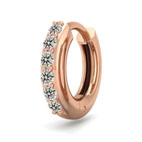 1/8 Carat Diamond Single Mens Hoop Earring In 14 Karat Rose Gold