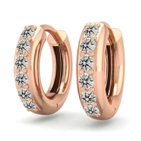 1/3 Carat Diamond Mens Hoop Earrings In 14 Karat Rose Gold