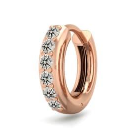 1/6 Carat Diamond Single Mens Hoop Earring In 14 Karat Rose Gold