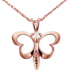 Cute Diamond Butterfly Pendant in 10k Rose Gold