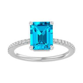 3 Carat Blue Topaz and Diamond Ring In 14 Karat White Gold