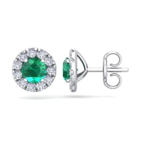 2 1/2 Carat Emerald and Diamond Halo Stud Earrings In 14 Karat White Gold