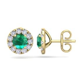 2 1/2 Carat Emerald and Diamond Halo Stud Earrings In 14 Karat Yellow Gold