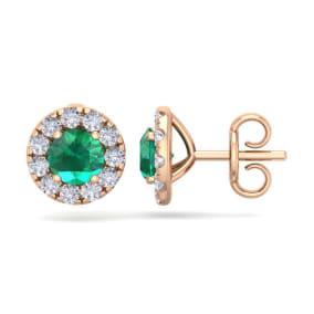 2 1/2 Carat Emerald and Diamond Halo Stud Earrings In 14 Karat Rose Gold