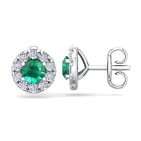1 1/2 Carat Emerald and Diamond Halo Stud Earrings In 14 Karat White Gold