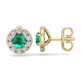 1 1/2 Carat Emerald and Diamond Halo Stud Earrings In 14 Karat Yellow Gold