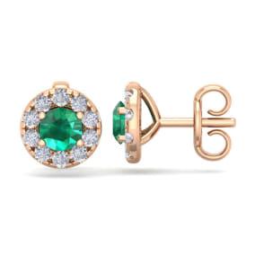 1 1/2 Carat Emerald and Diamond Halo Stud Earrings In 14 Karat Rose Gold