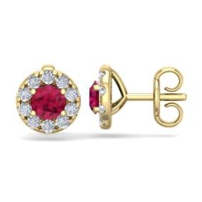 1 1/2 Carat Ruby and Diamond Halo Stud Earrings In 14 Karat Yellow Gold