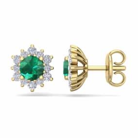 1 Carat Round Shape Flower Emerald and Diamond Halo Stud Earrings In 14 Karat Yellow Gold