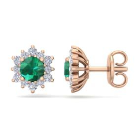 1 Carat Round Shape Flower Emerald and Diamond Halo Stud Earrings In 14 Karat Rose Gold