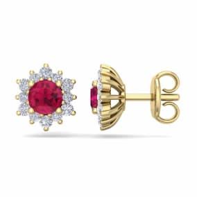 1 Carat Round Shape Flower Ruby and Diamond Halo Stud Earrings In 14 Karat Yellow Gold