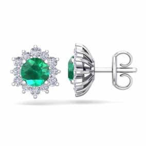 1 1/2 Carat Round Shape Flower Emerald and Diamond Halo Stud Earrings In 14 Karat White Gold