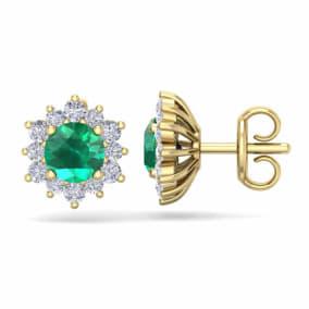 1 1/2 Carat Round Shape Flower Emerald and Diamond Halo Stud Earrings In 14 Karat Yellow Gold